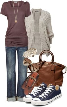 jeans + tee + chucks or change out the chucks for some kitten heels and perfect casual Friday work apparel!