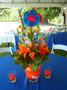 creative tropical centerpieces | Found on brightideasevents.com