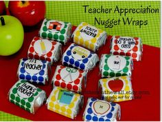 Give #Teacher chocolates with sweet messages. Hershey chocolate Nugget candies all wrapped up  #TeacherAppreciation gifts