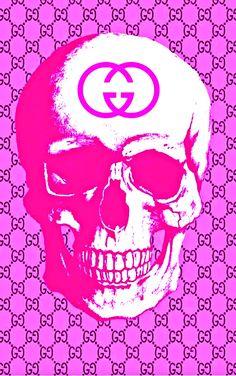 Pink Skull Wallpaper, Shoe Box Storage, Gucci Pattern, Wallpaper Backgrounds, Wallpapers, Art Ideas, Room Ideas, Skull Painting, Dope Art