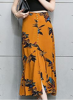 Polyester Floral Long Casual Others Skirts - Polyester Floral Long Casual Others Skirts You are in the right place about outfits para salir de no - Frock Fashion, Hijab Fashion, Fashion Dresses, Skirt Outfits, Dress Skirt, Cute Outfits, Skirt Patterns Sewing, Silk Mini Dress, Mode Hijab