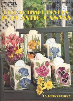 Floral Tissue Covers In Plastic Canvas by KnitKnacksCreations