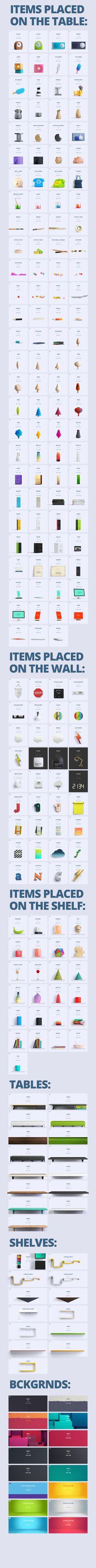 책상,선반,테이블 위 오브젝트 그래픽 :: Web Design Curating