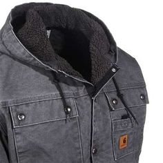 Carhartt Jackets: Men's J284 GVL Gravel Grey Lined Sandstone Duck Hooded Jacket