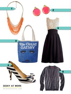 """Great Gatsby Style: Statement necklace, bright earrings, killer """"book"""" bag, whimsical shoes, classic dress and cardigan"""
