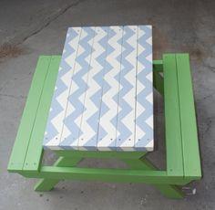 Custom Handmade Handpainted Chevron Picnic Table by PJsFurniture