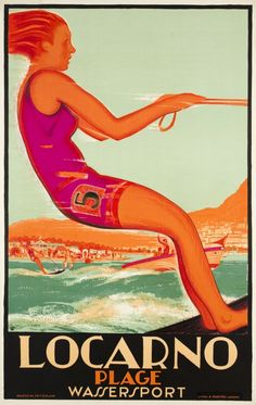 """Locarno Beach, watersport"" in the canton of Ticino, the italian speaking part of Switzerland. Artist Daniele Buzzi,  1928"
