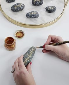 Want to try your hand at pointed-pen on rocks? Your nib + ink will work on a nice smooth surface {you can find a variety of rocks online here ~ the ones shown were collected by our client's mother! ~ we recommend the ones that