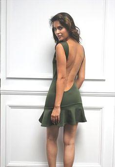 Womens Ladies Backless Skater Frill Khaki Mini Dress