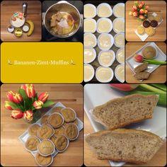 Bananen-Zimt-Muffins 15 Stück 250 g Mehl 2 Bananen 100 g Milch 125 g Öl 80 g Zucker 1 Ei 1 EL Backpulver 1/2 TL Natron 1/2 TL Zimt Den Backofen auf 180 Grad Ober-/ Unterhitze vorheizen. Alle Zutate...
