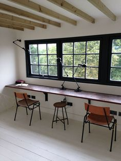 Industrial Style Loft Conversion - Mad About The House reclaimed laboratory worktop desk, old school chairs, black windows, exposed rafters, loft conversion, painted floorboards