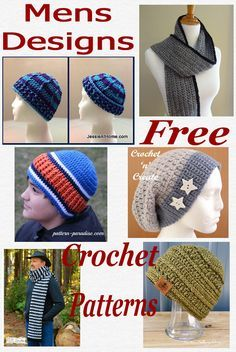 f3f1eb8dab0 Free crochet pattern roundup of mens hats and scarves crochet patterns.  CLICK to get the