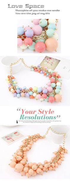 Victorian Pink Candy Color Beads Decorated Simple Design Alloy Fashion Necklaces ,Fashion Necklaces