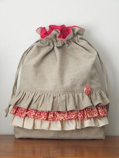 Linen Draw String Bag with Ruffle - Red