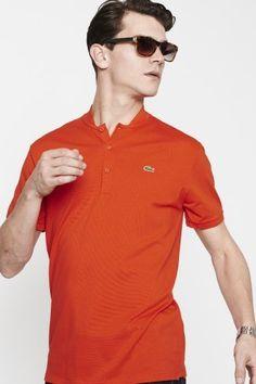 Lacoste Short Sleeve Mini Pique Band Collar Polo Shirt : Polo Shirts