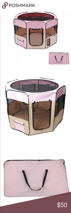 """52"""" soft Pet Playpen 52"""" diameter and 37"""" high ,,,,great for outdoor and indoor,,for pets all sizes big dogs cats small rabbits ,,comes with a top and bottom and a Carrier ,collapsable easy to carry everywhere,can be carried easily in trips and great for hotel rooms ,has 2 mesh doors ollystar Other"""