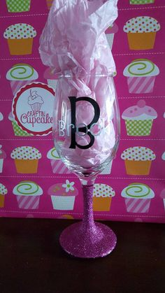 Check out this item in my Etsy shop https://www.etsy.com/listing/268906954/personalized-glittered-wine-glass