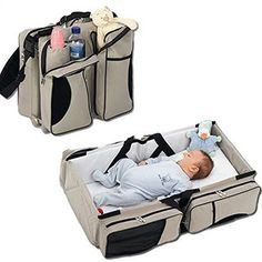 3 in 1 - Diaper Bag - Travel Bassinet - Change Station - (Cream) - Multi-purpose #1 Baby Diaper Tote Bag Bed Nappy Infant Carrycot Crib Cot Nursery Portable Change Table Portacrib Boy Girl Top Best Quality, Newborn