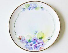Purple Violets Porcelain Plate Vintage Nippon China by jarmfarm, $12.99