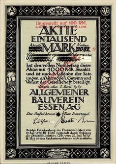 Allbau - Allgemeiner Bauverein AG Essen histor. Gründer Aktie 1919 OB Dr. Luther
