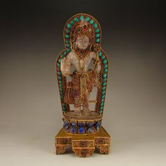 Qing Dynasty Gilt Gold Red Copper Inlay Crystal Tibet Buddhism Tara Statue