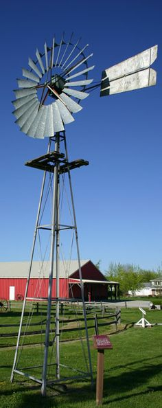 **This one is complete with working windmill! Farm Windmill, Nebraska City, Old Windmills, Water Wheels, Wind Mills, Wind Of Change, Weather Vanes, Sustainable Energy, Water Tower