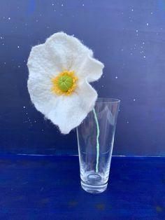 Excited to share this item from my #etsy shop: Large felt poppy, white poppy flower, felt white poppy Protea Flower, Felt Flowers, Poppy Flowers, Rainbow Decorations, Rainbow Wall, Felt Ball, Homemade Christmas, Flower Photos, Large White