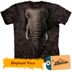 Take a walk on the wild side with the Elephant Face Kids T-Shirt from The Mountain. Shop our huge selection of zoo animal tees and wear one every day of the week! Elephant Face, Elephant Shirt, African Elephant, Giraffe, Elephants, Elephant Zoo, Elephant Elephant, African Animals, Moda 3d