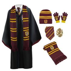 The complete Gryffindor uniform just for you! Check out this special price for the whole Harry potter pack including a Gryffindor Scarf/Tie/Gloves/Beanie/Robe Cosplay Harry Potter, Harry Potter Uniform, Hogwarts Uniform, Harry Potter Style, Harry Potter Cast, Harry Potter Outfits, Harry Potter Characters, Harry Potter Costumes, Hermione Granger Costume