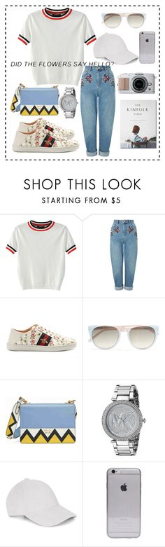 """""""🙂"""" by fathyanabila ❤ liked on Polyvore featuring WithChic, Miss Selfridge, Gucci, Linda Farrow, Prada, Michael Kors and Le Amonie"""