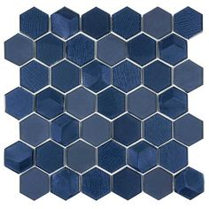 The iconic hexagon shape is the base of this blue metallic glass tile. This beveled glass mosaic brings a sparkle to any kitchen backsplash or bathroom wall! Mosaic Wall Tiles, Hexagon Tiles, Mosaic Glass, Blue Mosaic Tile, Glass Tiles, Blue Glass Tile, Hexagon Shape, Marble Mosaic, Hexagon Backsplash