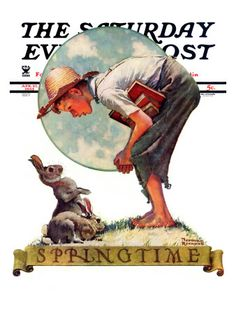 """Springtime, 1935 boy with bunny"" Saturday Evening Post Cover, April 27,1935  Norman Rockwell"
