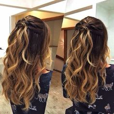 Image in Penteados collection by dudaacastr on We Heart It Homecoming Hairstyles, Wedding Hairstyles, Pretty Hairstyles, Braided Hairstyles, How To Make Hair, Hair Highlights, Bridesmaid Hair, Her Hair, Hair Inspiration