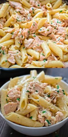 Easy Salmon Pasta This simple and elegant One Pot Creamy Salmon Pasta makes a quick and filling dinner that your family will love! Visit Cooktoria and make this scrumptious salmon dinner today! One Pot Creamy Salmon Pasta makes a quick and filling dinner! Easy Dinner Recipes, Yummy Recipes, Easy Meals, Cooking Recipes, Healthy Recipes, Diet Recipes, Simple Pasta Recipes, Pasta Recipes Video, Penne Recipes