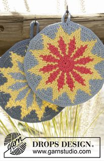 "Burning Sun - Crochet DROPS round pot holder with multi-colored pattern in ""Paris"". - Free pattern by DROPS Design"