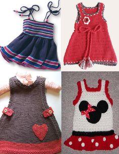 iki şişle işlenmiş kız bebek örgü elbise modelleri