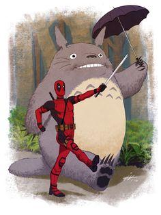 (Deadpool and Totoro) By: Ian-Navarro Deadpool Y Spiderman, Deadpool Fan Art, Deadpool Funny, Deadpool Stuff, Totoro, Marvel Characters, Marvel Movies, All Pop, Harley Quinn
