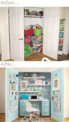 Home Office In A Closet Idea - Before and After. Imagine jewelry bulletin boards on other side of doors.