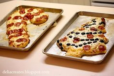 christmas pizzas! Love this. When I started working a lot of holidays we started doing this on Xmas eve. :)