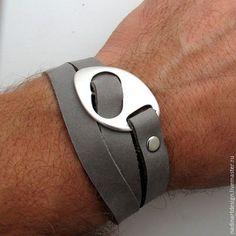 Купить Многослойный кожаный браслет для мужчин. Стильный авторский аксессуар - темно-серый, браслет