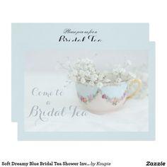 Soft Dreamy Blue Bridal Tea Shower Invitations