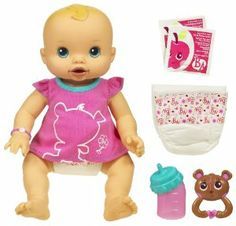 "Baby Alive Whoopsie Doo Doll - CAUCASIAN by Hasbro. $75.99. Playing ""mommy"" is more fun than ever with this BABY ALIVE doll. In her doll diaper after you feed her a bottle!. Feed this amazing lifelike doll that ""eats"" and ""poops"". Doll comes with bottle, 2 packets of doll juice mix. 2 doll diapers, rattle and t-shirt. Amazon.com                The Baby Alive Whoopsie Doo is an adorable, life-like doll that coos, giggles, eats, pees and even poops on her own, giving your child a ..."