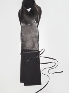 Black Leather and Wool Scarf