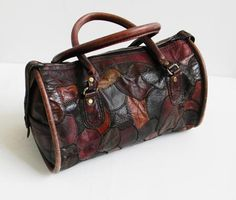 Vintage Leather Patchwork Duffel by alchemievintage on Etsy, $84.00