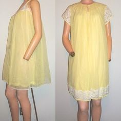 SOLD-Vintage Late 50s Vanity Fair Light Yellow Chiffon Lace by clovas, $89.00