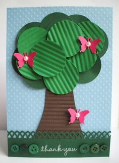 tree craft  | To create this card you will need a piece of Bazzill Blue Dotted Swiss ...