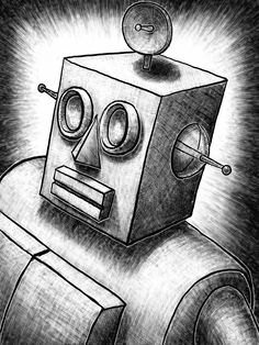 robots robot drawings pencil drawing digital illustration sketch draw 8x10 easy simple similar classic cartoon untitled tutorial shapes using ink