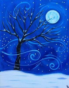Swirly wind snow covered tree moon painting. Beginner canvas painting idea.