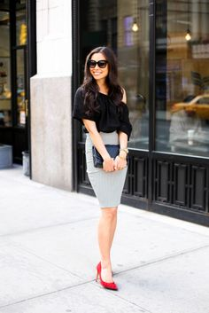 Kat Tanita of With Love From Kat wears a cute work outfit with a strip pencil skirt, Otte off the shoulder blouse, and Stuart Weitzman red pumps in NYC.