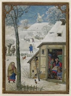 January by Simon Bening - The Hennessy Hours 1530. The opening in the roof to allow smoke to escape is not really a chimney in the modern sense; but this was the 'state-of-the-art' for most ordinary dwellings up to the C16.